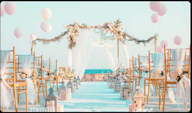 马卡龙户外沙滩婚礼