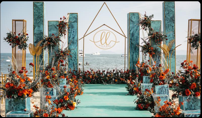 墨绿系沙滩婚礼